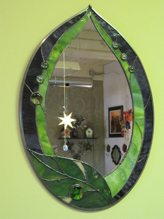 Items similar to Stained Glass Fun Funky Leaf Mirror on Etsy