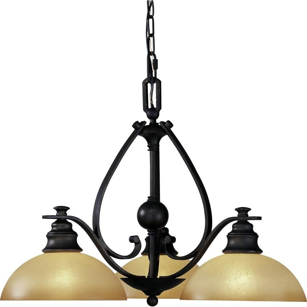 Volume Lighting Rainier 3 Light Foundry Bronze Interior Chandelier