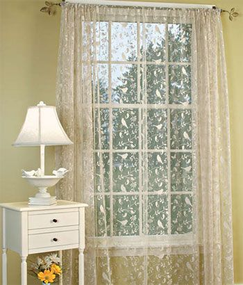 Bird Song Lace Rod Pocket Panel Lace Curtain Panels For