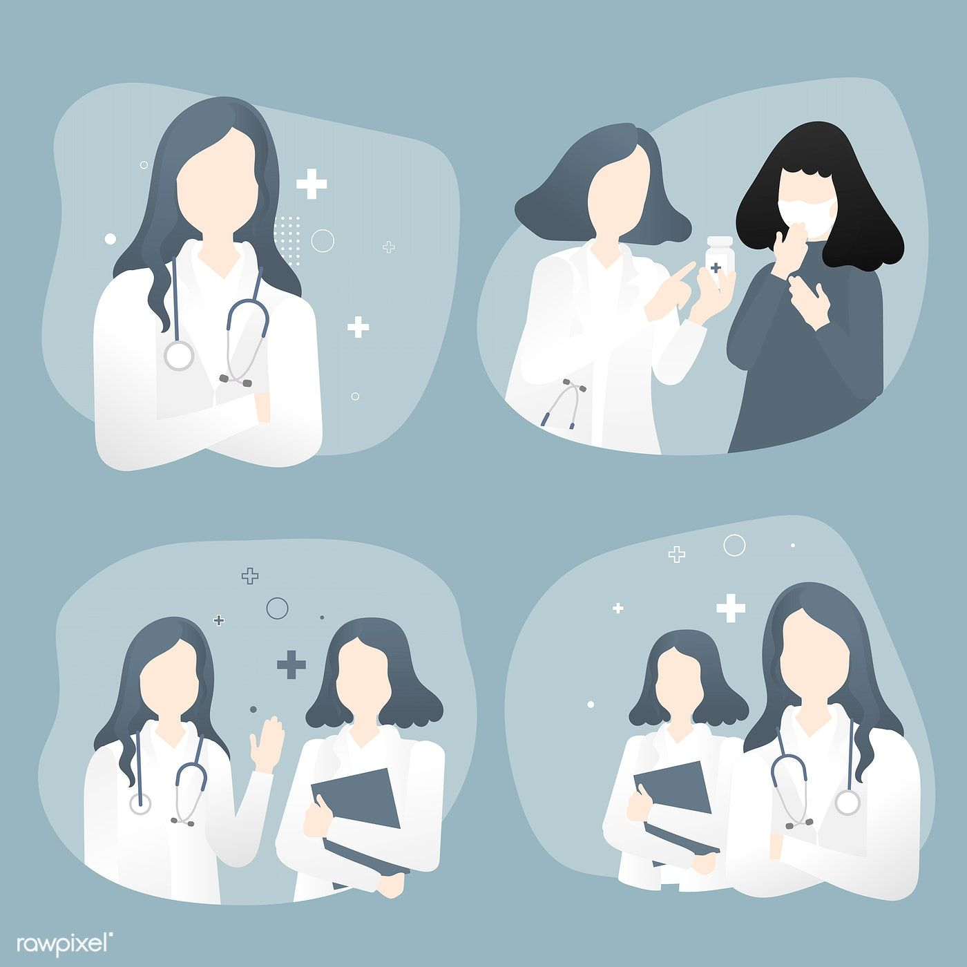 Doctor and nurse with patient characters vector set free