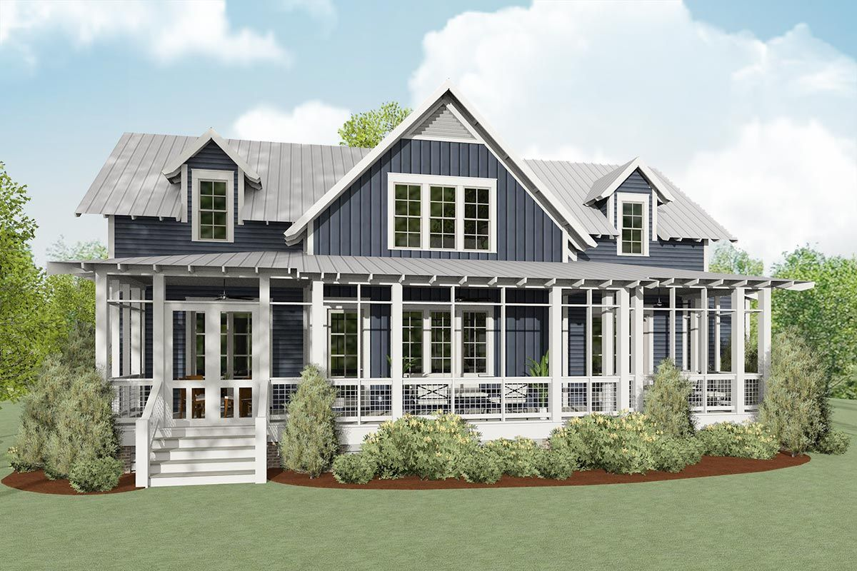 Plan 130050lls Exclusive Coastal Cottage Home Plan With Screened Porch In 2020 Porch House Plans Beach House Floor Plans Cottage House Plans