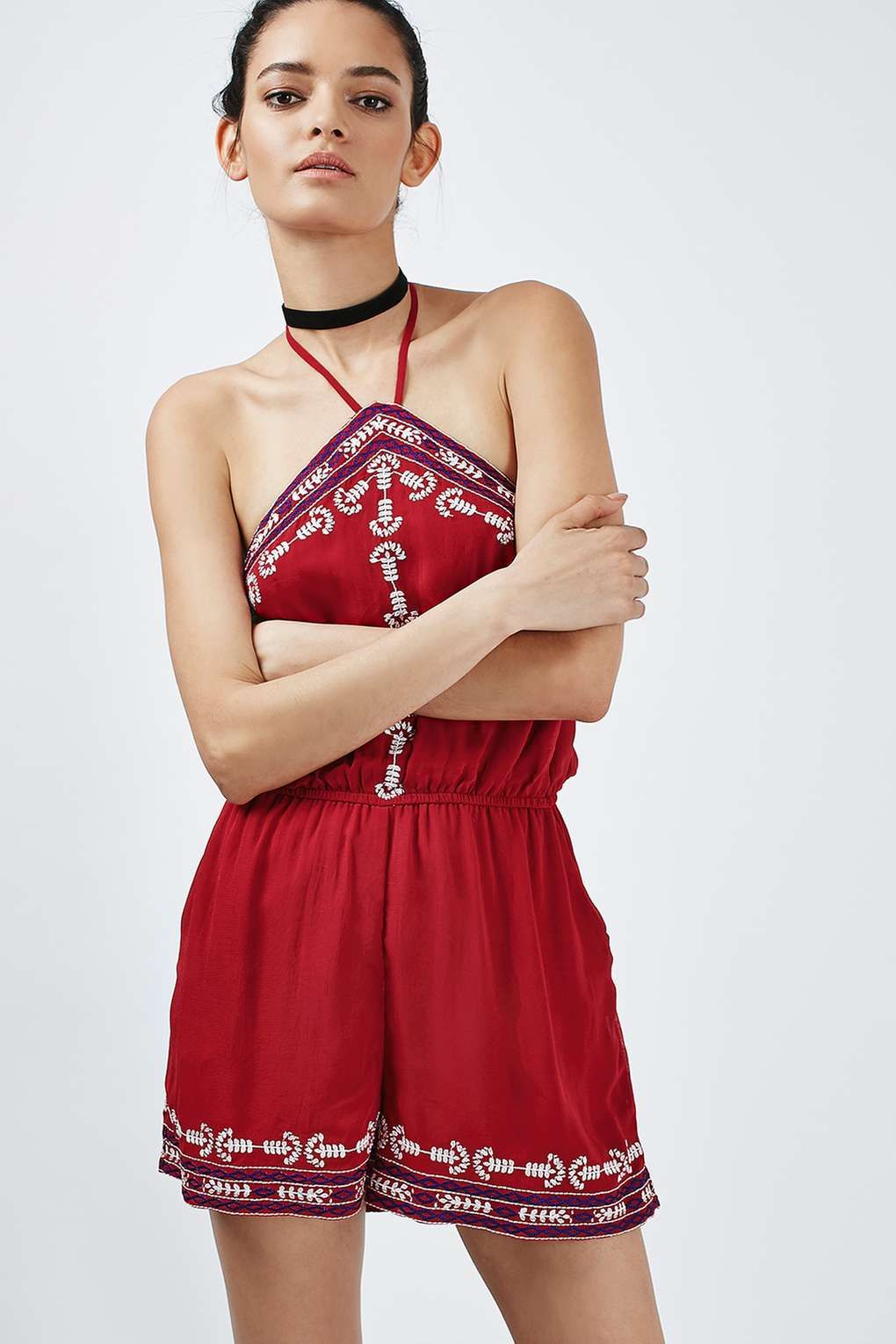 b82c419f93b6 TALL Embroidered High-Neck Playsuit  tops Short Playsuit