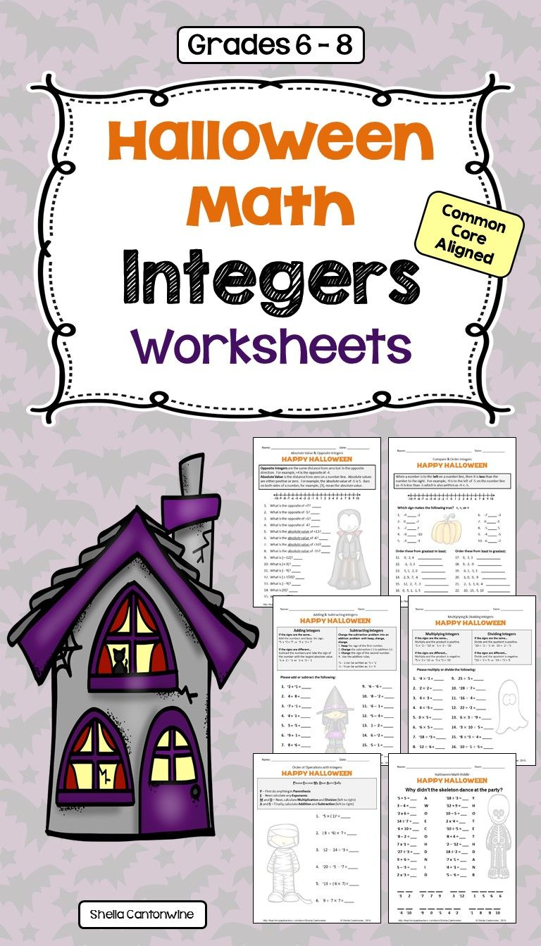 These 6 Halloween Themed Integers Worksheets Cover Absolute Value Opposite Integers Comparing Ordering In Integers Worksheet Integers Differentiation Math