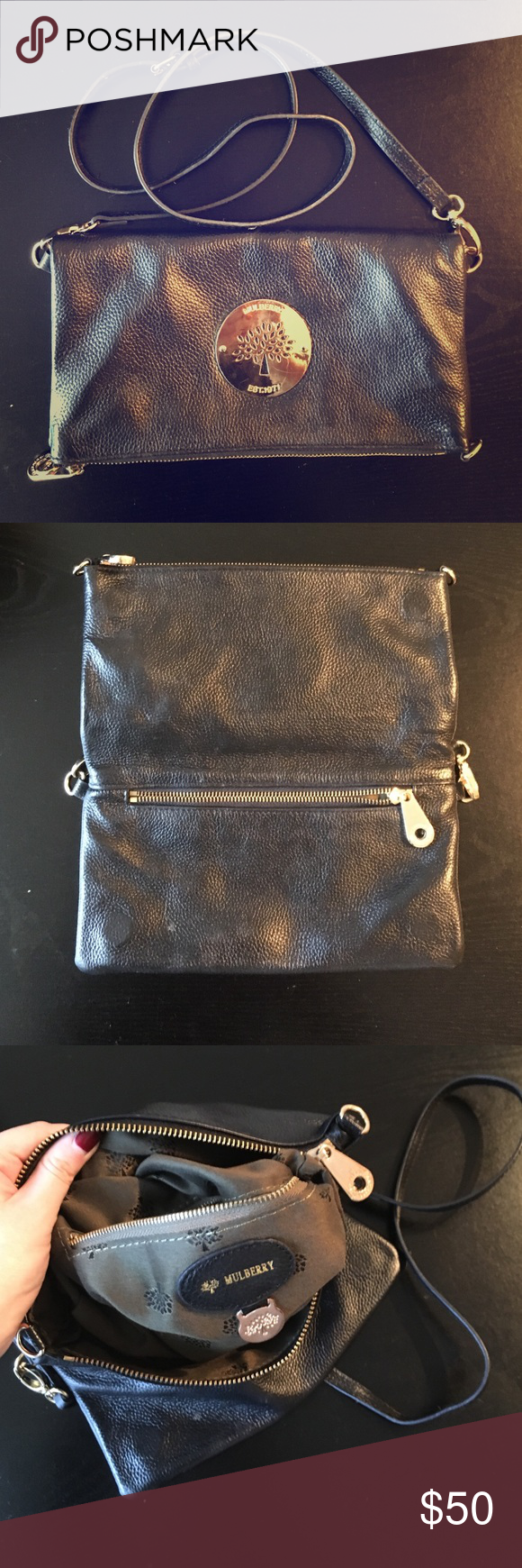 ... free shipping a mulberry black leather zippy bag with gold hardware and  inside pockets for smaller ... 255ca9ab71