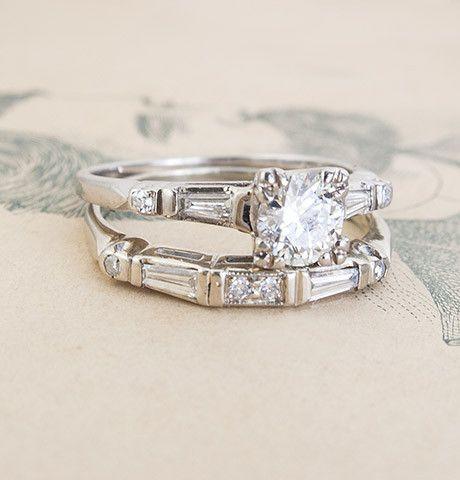 Vintage 1940 S Wedding Set Erica Weiner Bridal Jewelry Vintage Wedding Sets Diamond Wedding Rings