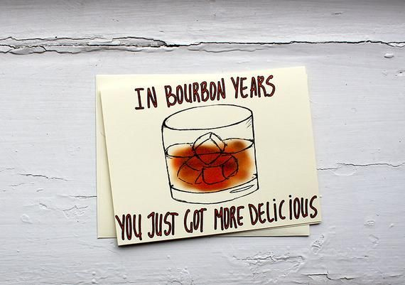 Funny bourbon birthday card for him - gift for bourbon lover