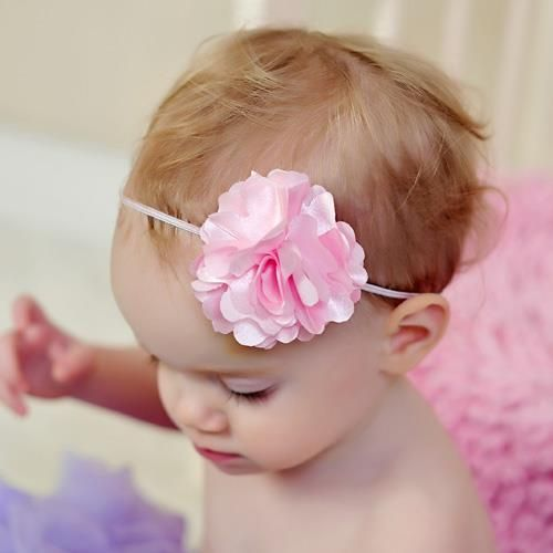 Zilly Bean Light Pink Geranium Petite Headband. Ultra narrow headband for infant girls in pale pink with geranium accent. See More Headbands at http://www.ourgreatshop.com/Headbands-C199.aspx