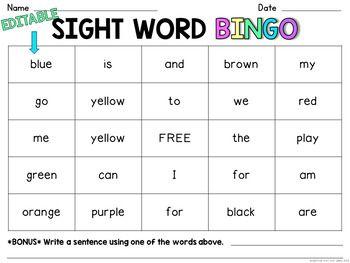 Editable Sight Word Bingo With Images Word Bingo Sight Word
