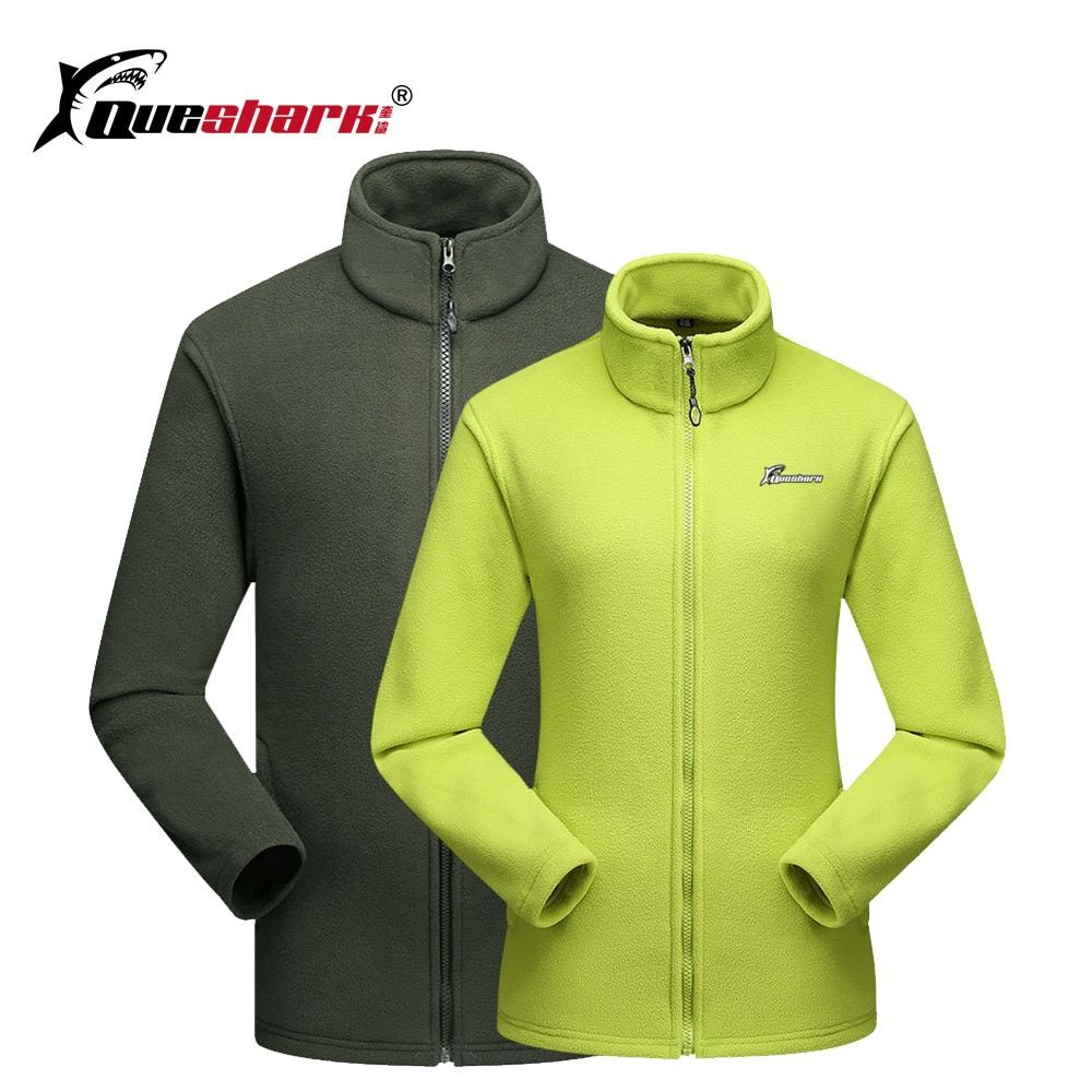 739ec1c03 QUESHARK Men Women Polar Fleece Jacket Warm Outdoor Sports Windproof Zipper Coats  Trekking Camping Hiking Jackets Plus Size
