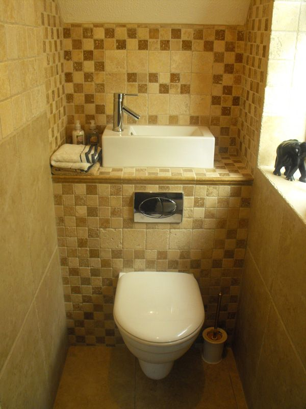 Small cloakroom toilet clever space saving sink with for Bathroom and toilet designs for small spaces