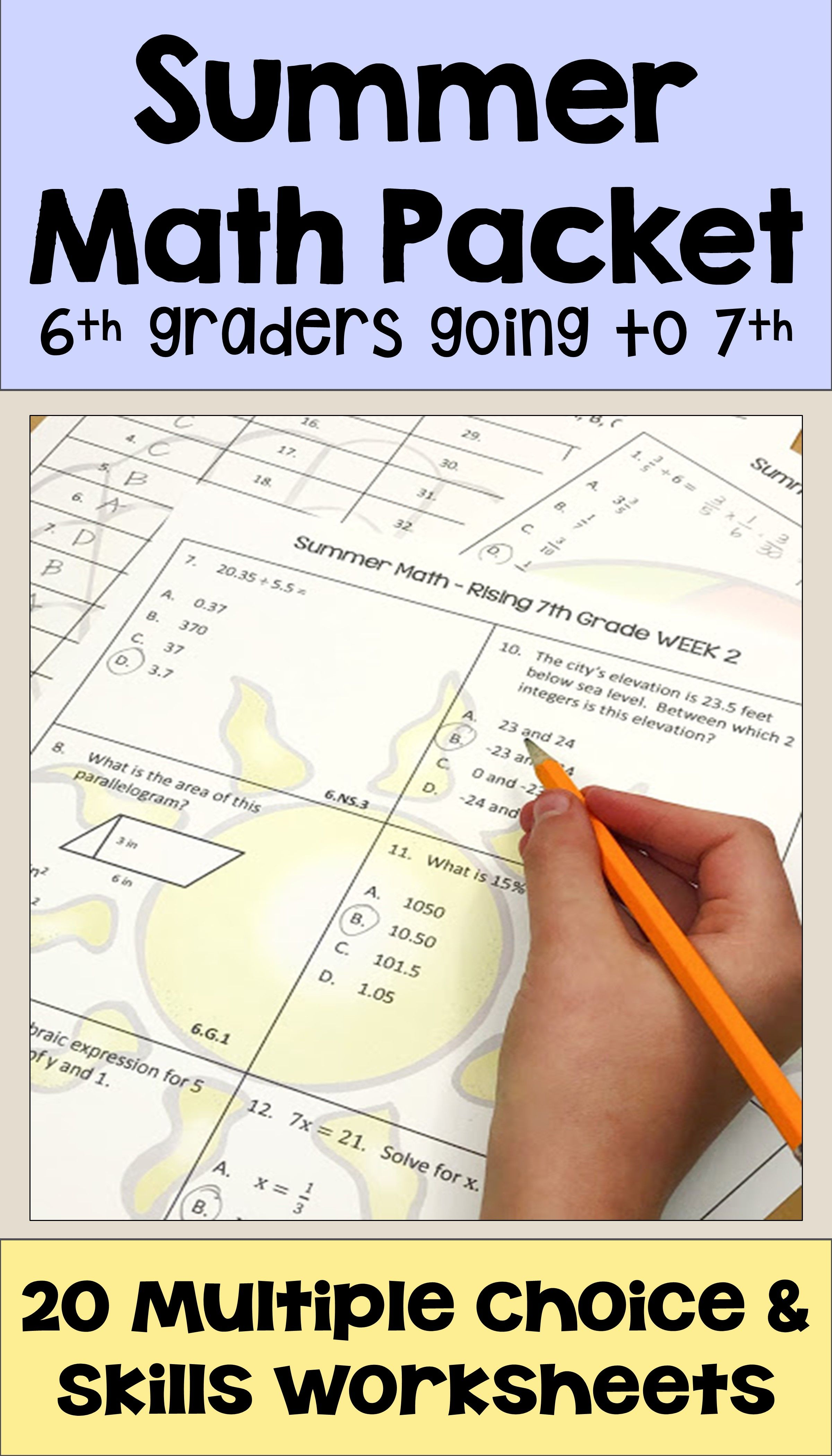 medium resolution of Summer Math Packet for Rising 7th Graders - Review of 6th Grade Math    Summer math