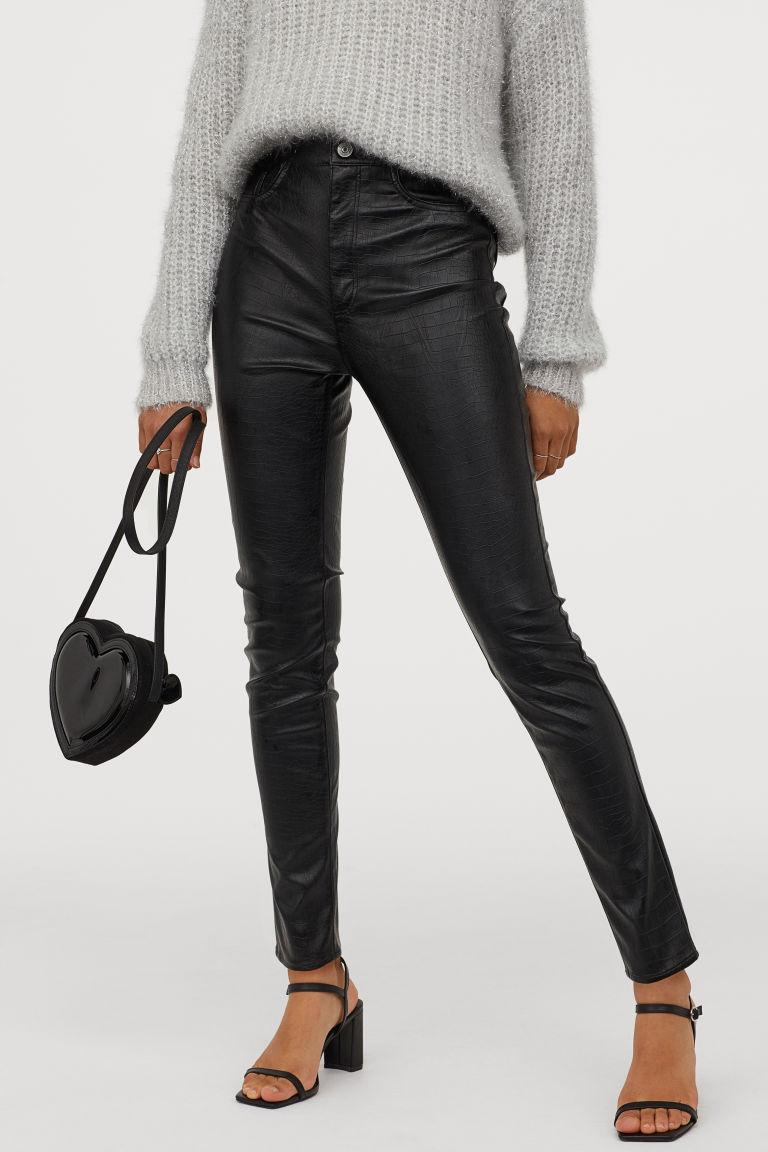 Photo of High Waist Pants – Black/crocodile-patterned – Ladies | H&M US