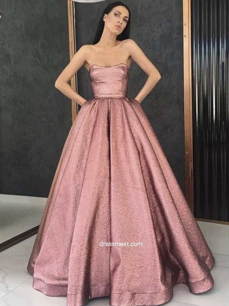 61ac7d114bd Gorgeous Ball Gown Strapless Blush Pink Sparkly Satin Long Prom Dresses