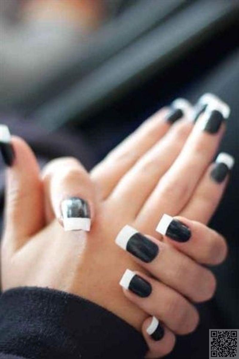19. #negro con puntas #blancas francés - #Estos 32 uñas de blanco y ...