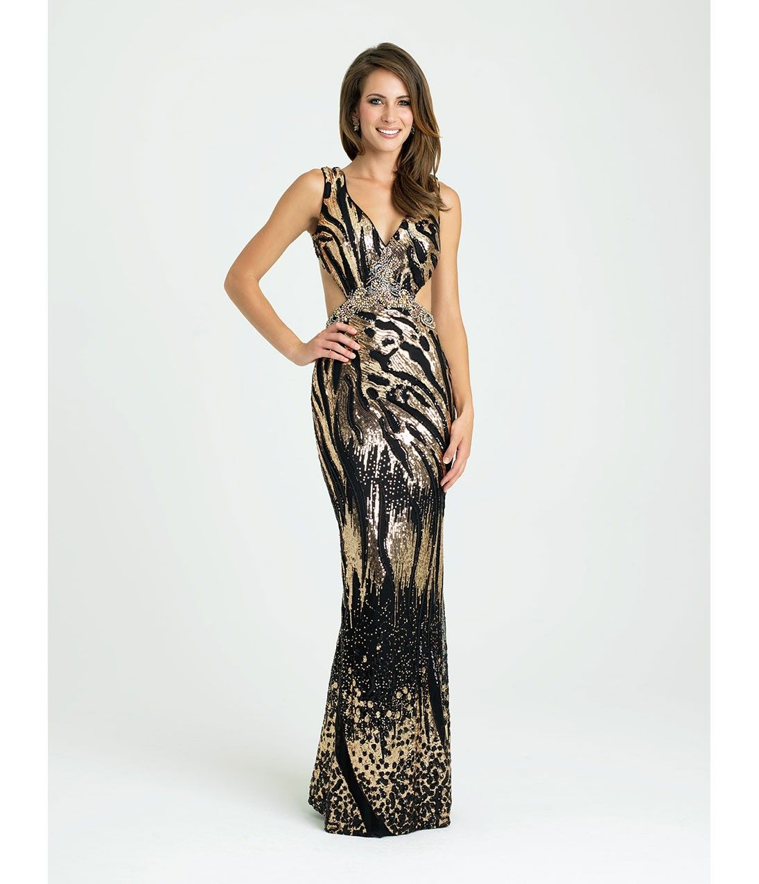 Black & Gold Sequin Tiger Print Long Dress | Clothes | Pinterest ...