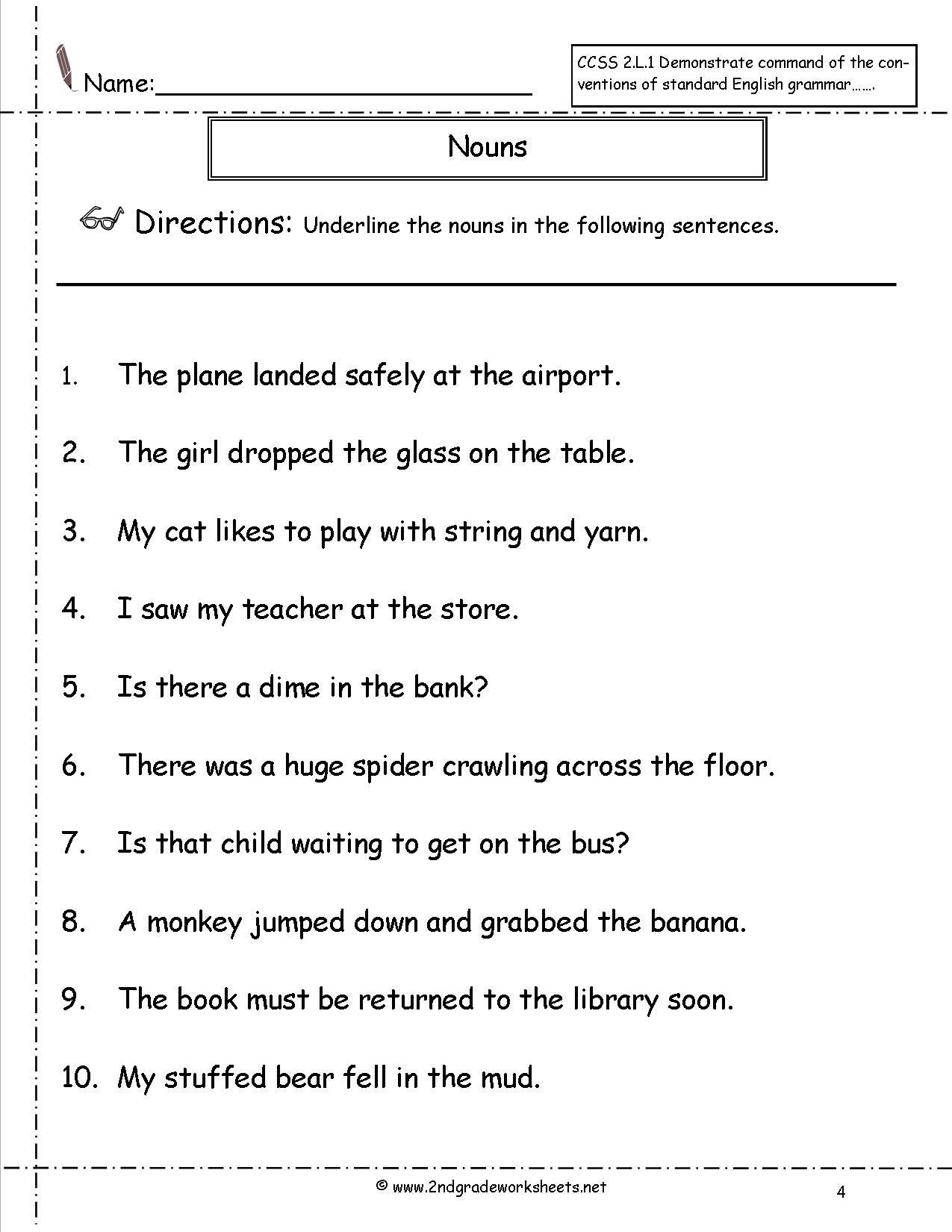 4 Worksheet Free Grammar Worksheets Second Grade 2 Nouns Using