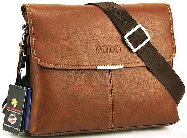 High Grade Leather Videng Polo Brand Men Messenger Laptop Cross Body Shoulder Travel Bag Brown