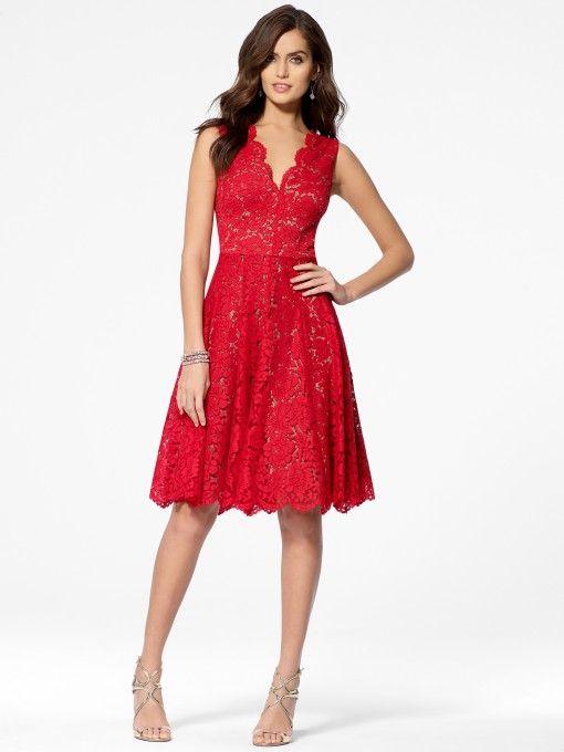Red Lace V Neck Scarlet Dress Red Carpet Ready Dresses