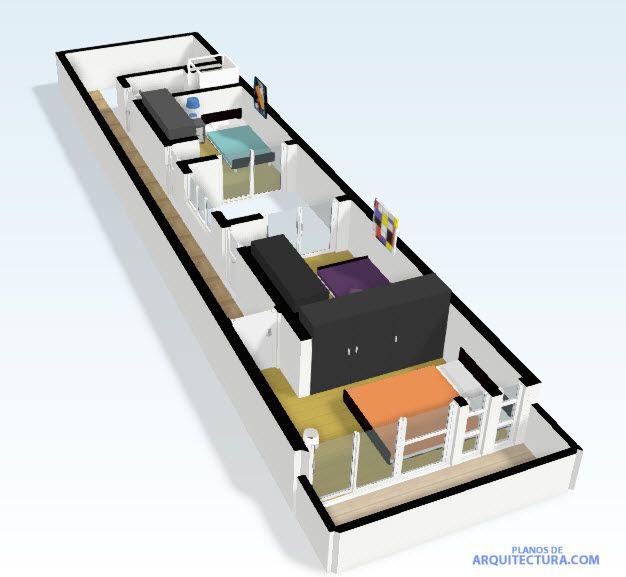 Gr fico 3d del segundo nivel de casa peque a planos for Planos de casas pequenas en 3d