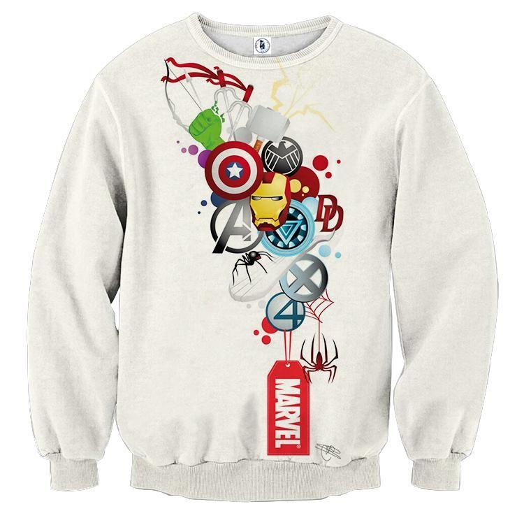 1511438d All Marvel White Sweatshirts | Marvel avengers | Marvel clothes ...
