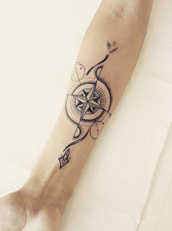 100 Awesome Compass Tattoo Designs Ink A Bink Pinterest