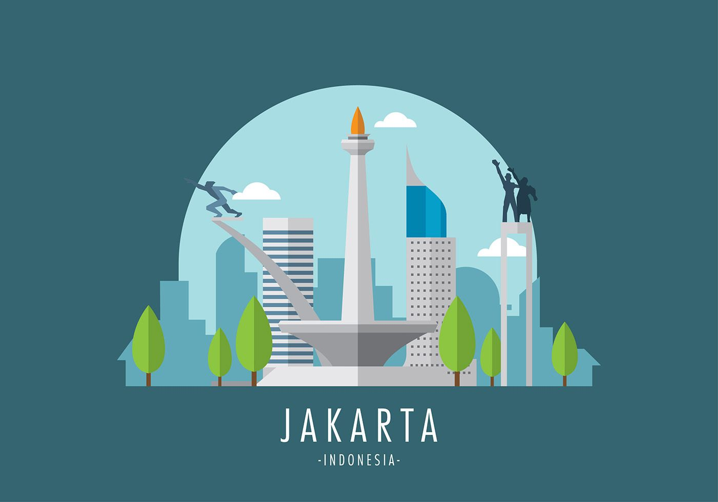 Monas Jakarta Vector Indira City Illustration City Drawing