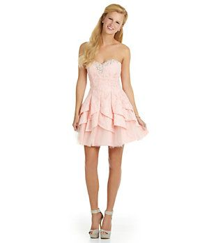 205d5989e0d Masquerade Strapless Tiered Party Dress