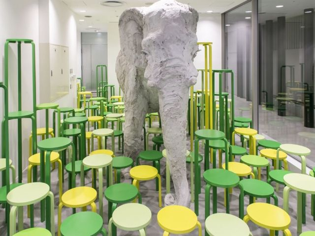 Celebrating 80 years of the Alvar Aalto's 1933 Stool, Klein Dytham designs an installation with Stephanie Quayle's Elephant figurine at Dover Street Market Ginza.