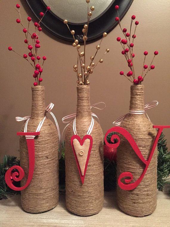 Glass Bottle Decoration For Christmas Joy Wine Bottle Decorchrissylynncreations On Etsy …  Pinteres…