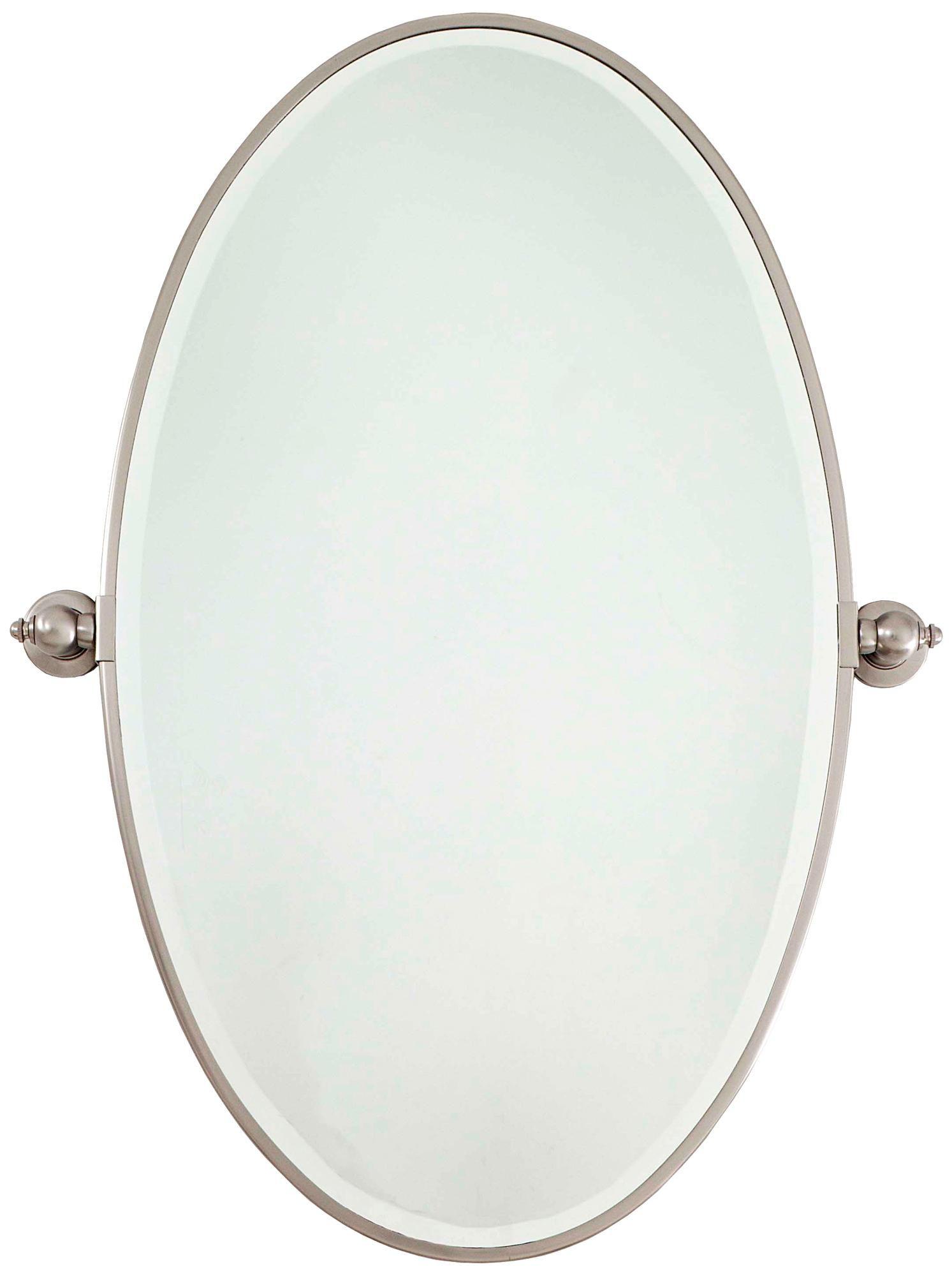 Minka 36 High Oval Brushed Nickel Bathroom Wall Mirror