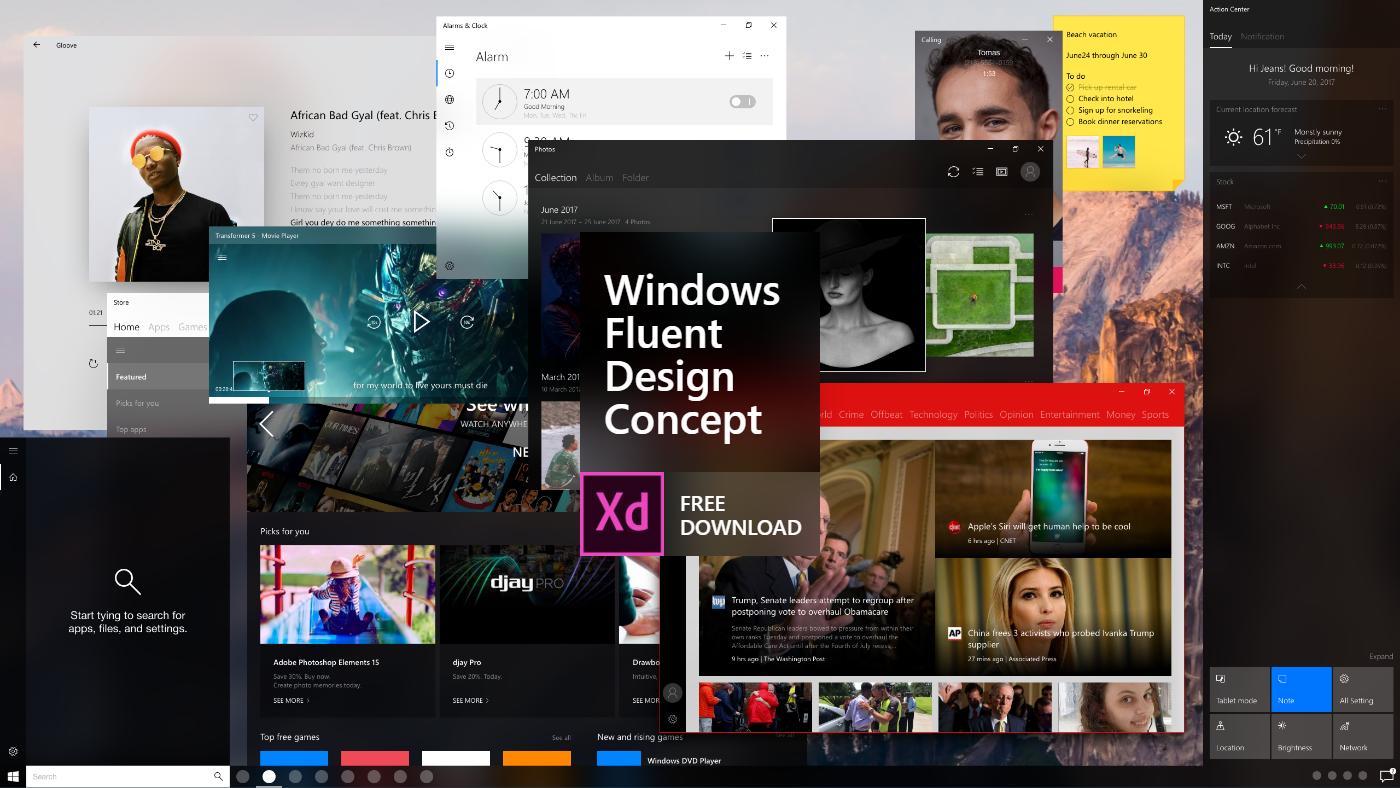 Windows Fluent Design Concept Adobe XD Free Download