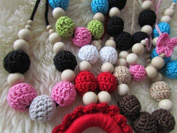 Crochet babywearing, breastfeeding and teething necklace
