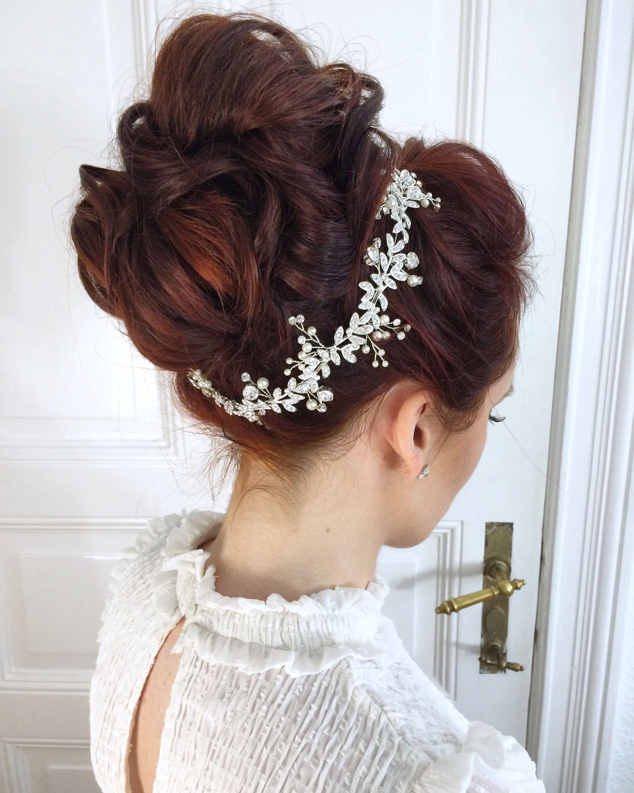 Up Do Rote Haare Glitzer Haarschmuck Hochgesteckt Bridal