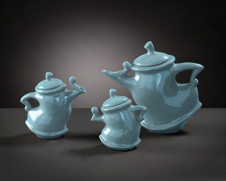 Howard Elliott 1887 Baby Blue Whimsical Tea Pots - Pack of 3 HWE-1887