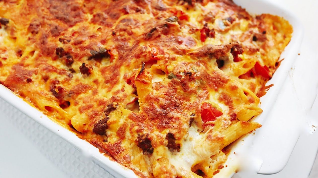 Cheesy pasta bake with minced beef cookwithme youtube