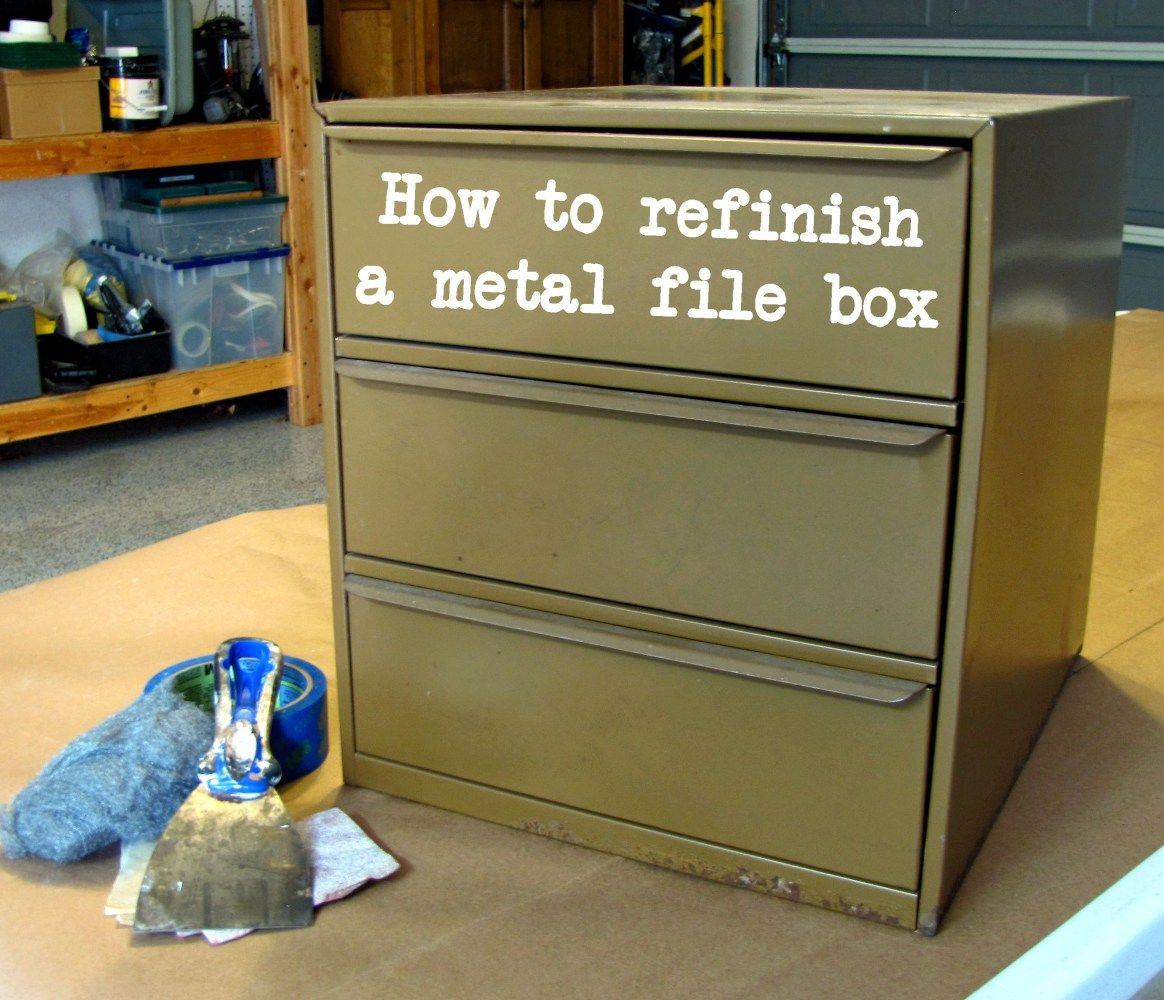 How To Refinish A Metal File Box # Muebles Hojalata