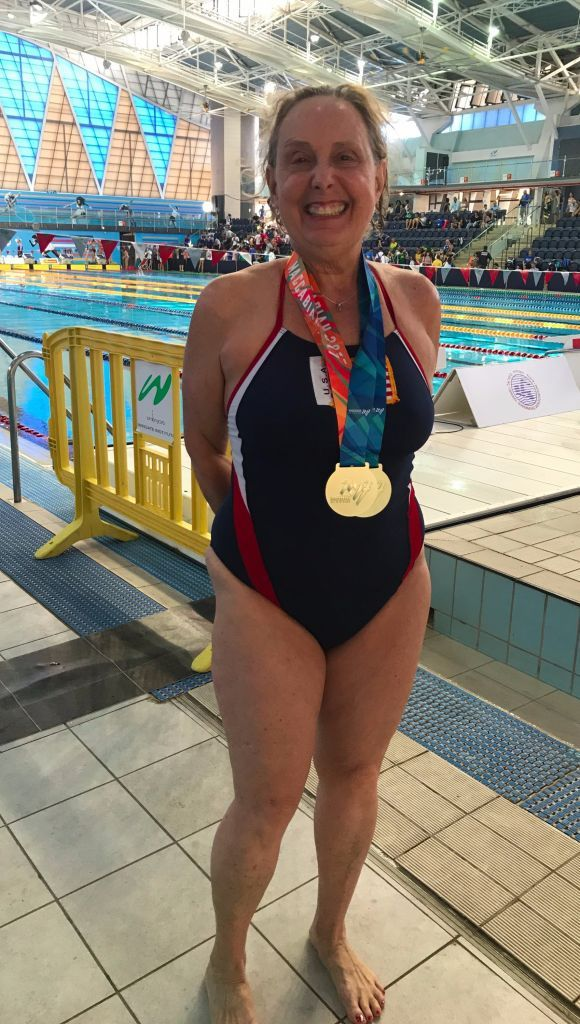 Jane Katz With The Gold Medals She Won In The 200m Freestyle And 100m Backstroke Women S Masters Swimming Races At T Competition Games Swimmer Masters Swimming