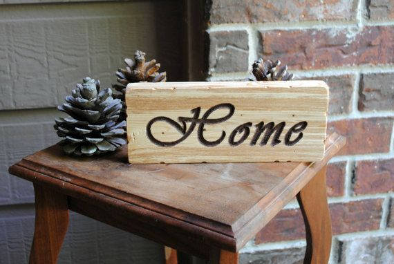 Home Carved Reclaimed Wood Sign in Chocolate by rusticcarvings, $10.00