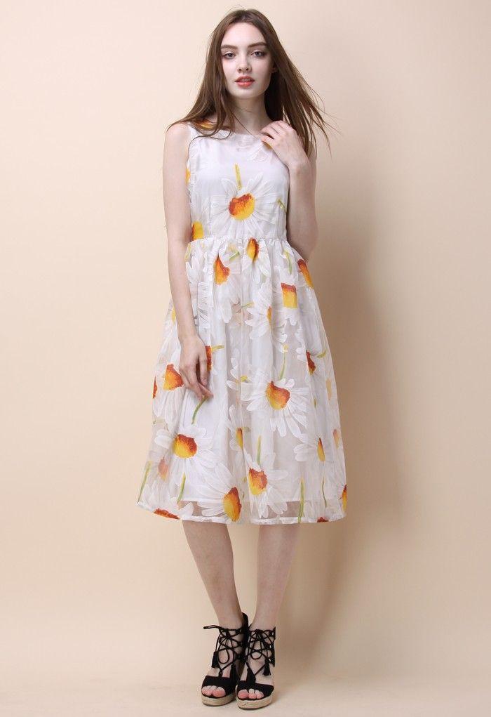 7103265766 Divine Daisy Print Organza Midi Dress - DRESS - Retro