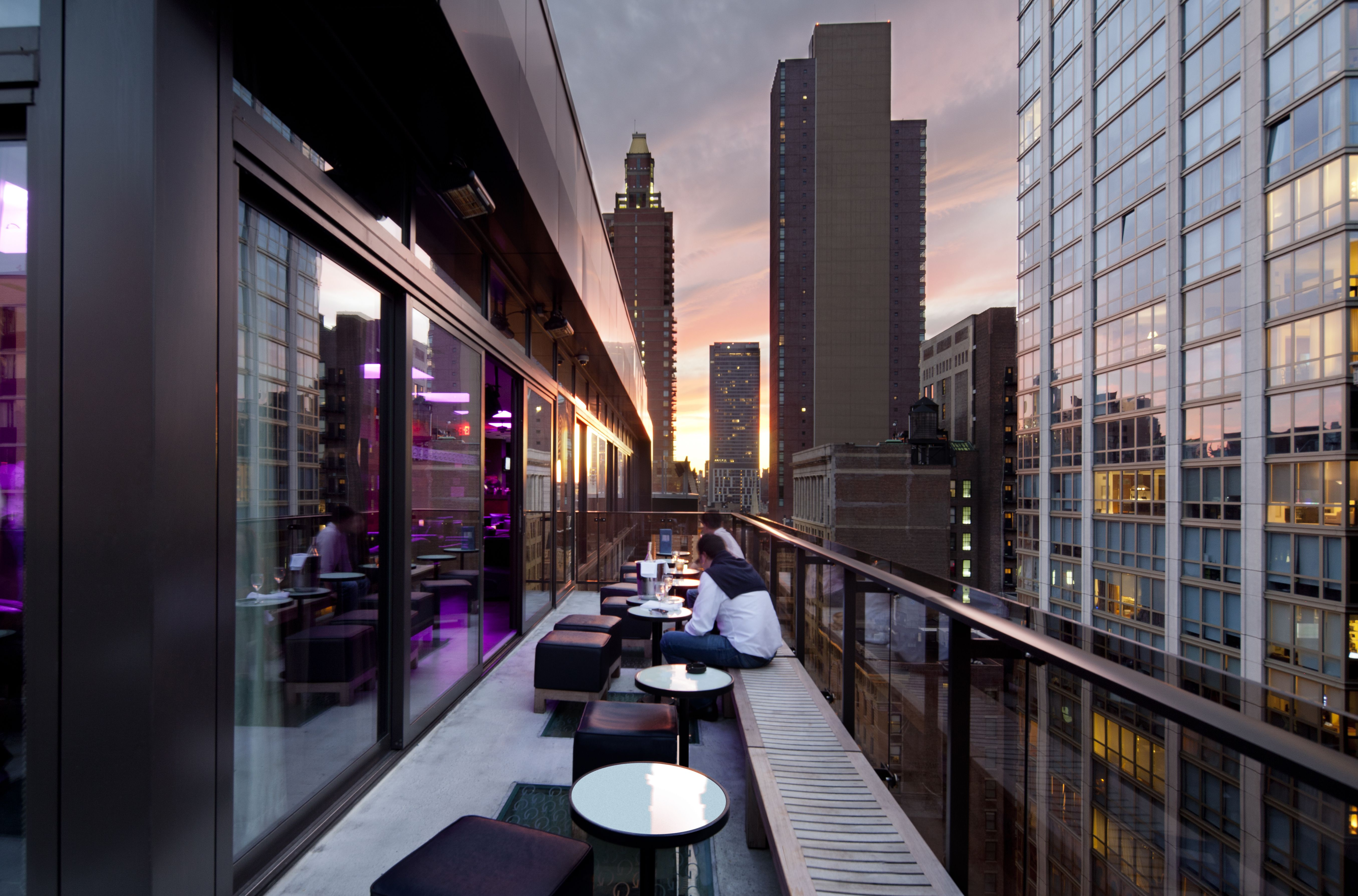 The Breathtaking View Of New York At Sunset From The Hotel