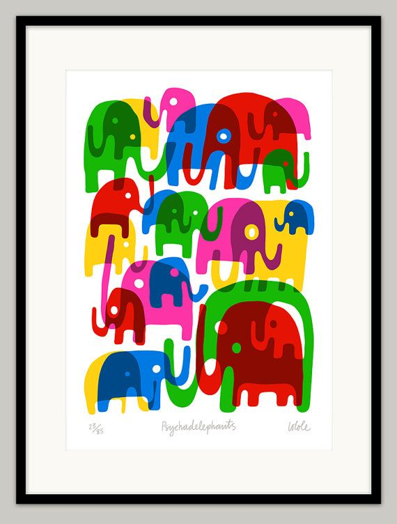 Psychadelephants  Limited edition fine art print by Lo by locole,