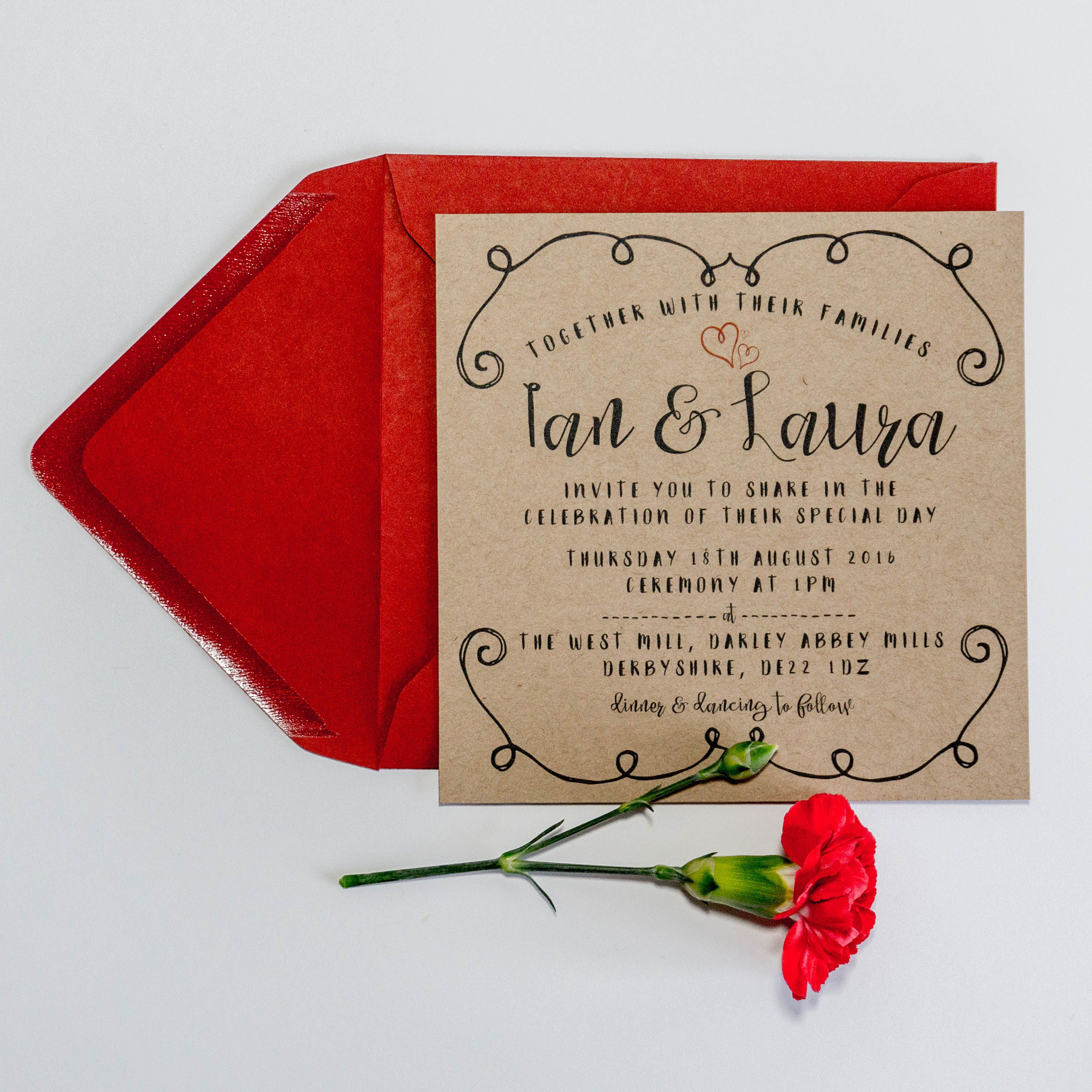 Square rustic decorative border wedding invitation set. Printed onto ...