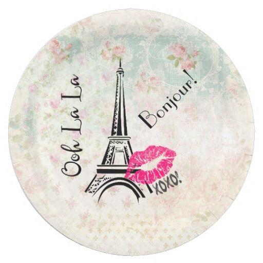 Ooh La La Paris Eiffel Tower on Vintage Pattern Paper Plate  sc 1 st  Pinterest & Ooh La La Paris Eiffel Tower on Vintage Pattern Paper Plate ...