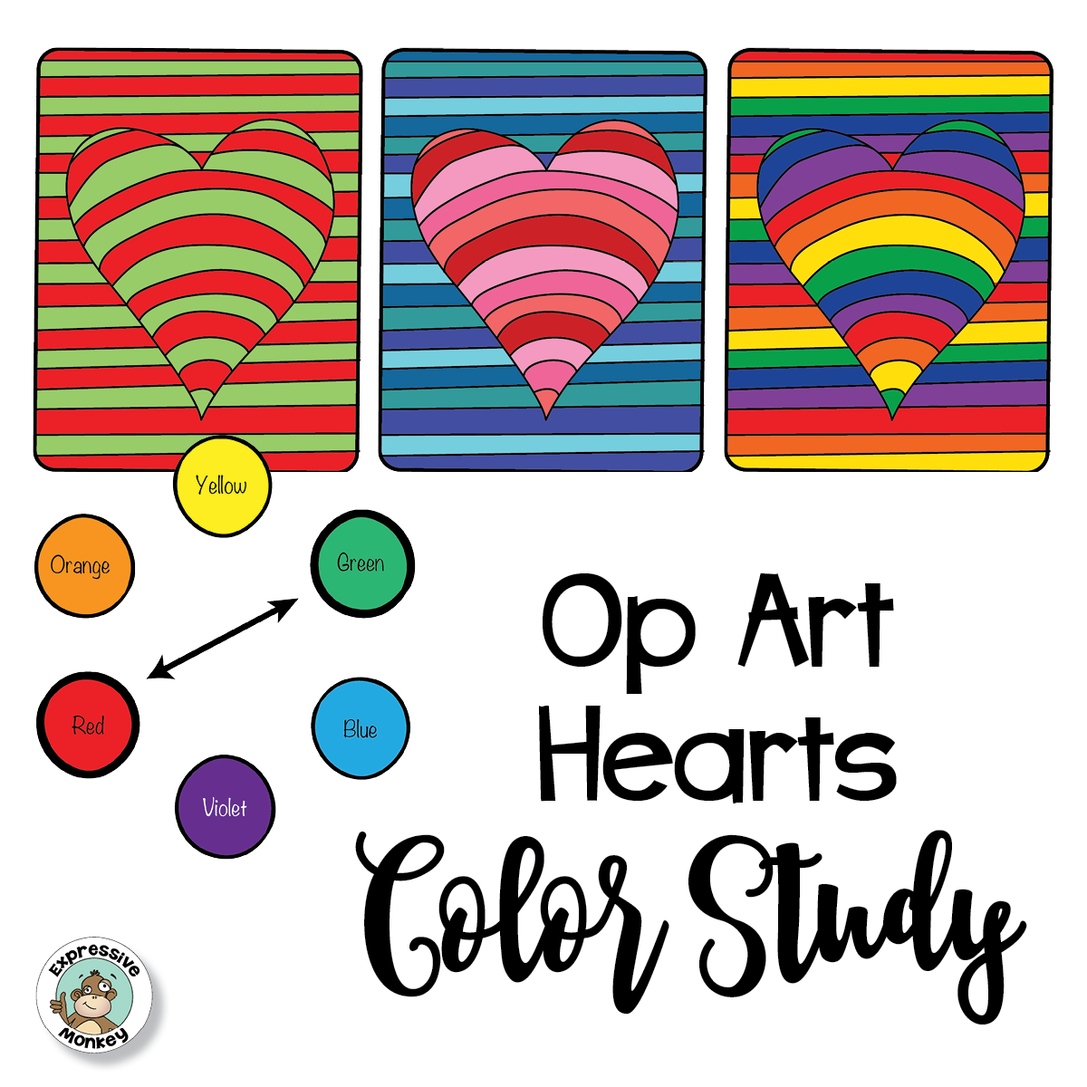 4 Ways That You Can Use A Simple Op Art Heart Lesson To Teach Color Theory Including Color