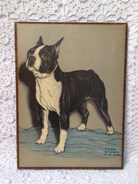 REDUCED Vintage Gladys Emerson Cook Print, Boston Terrier Print on Etsy, $20.00