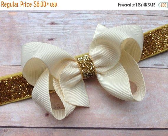 Ivory Gold headband Ivory Gold Baby Headband Ivory Gold Christmas headband Ivory Gold Holiday Headband Flower  headband Baby headband