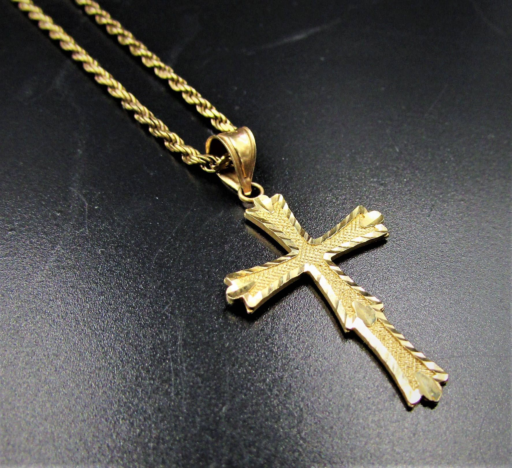 Men S Gold Cross Necklace Ladies Gold 20 Cross Necklace 10k Solid Rope Chain 10k Cross Pen Gold Cross Pendant Gold Cross Necklace Gold Crucifix Necklace