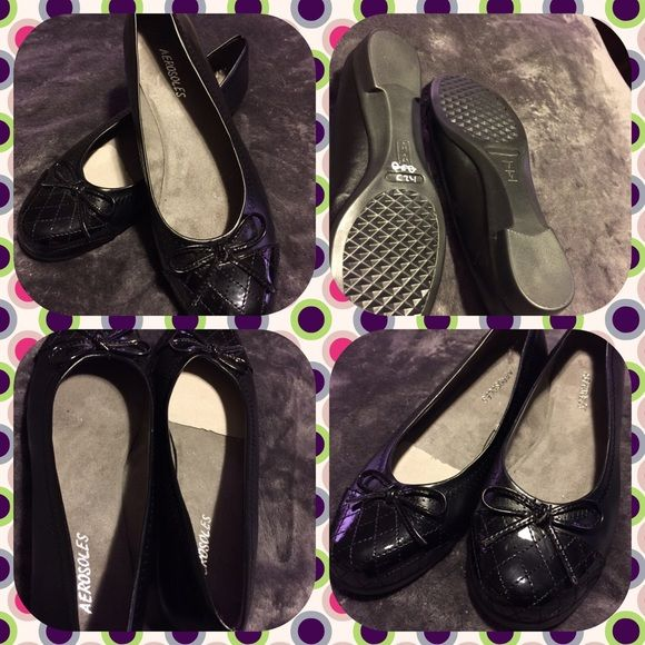 Like new Aerosoles Black Ballet Flats with Bow Like new Aerosoles black ballet flats with bow detail.  Worn once.  All man made material.  Size 8.  No scuff marks, no marks on the sole.  No trades, no other websites.  Use offer option. AEROSOLES Shoes Flats & Loafers