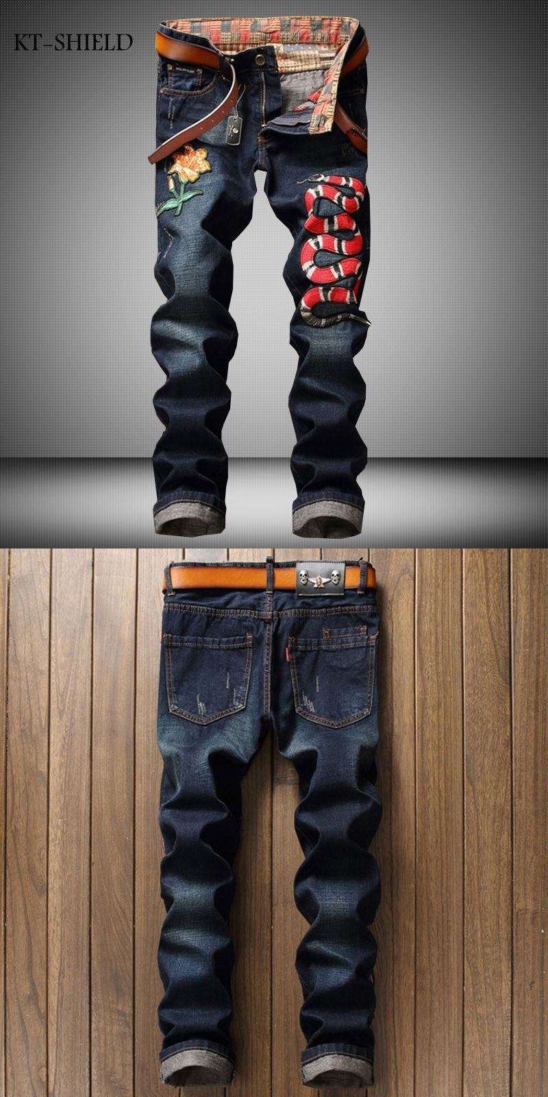 c0a52afd307 Brands Mens clothing design Embroidered Floral Snake Denim Jeans Chic men  Animal Pattern Straight Biker Jeans
