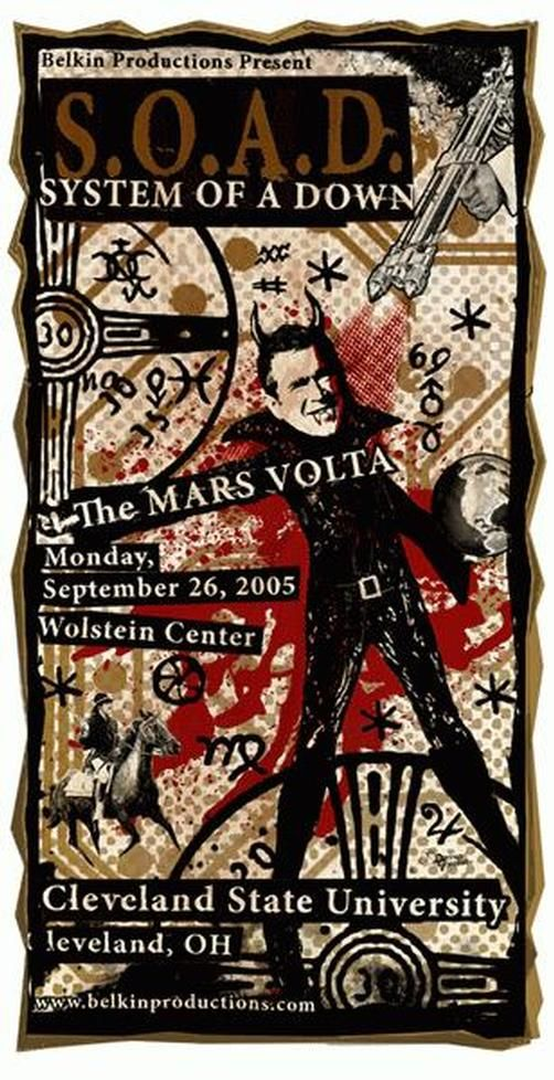 Original Concert Poster For System Of A Down And Mars Volta At The
